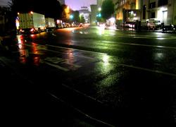 降りしきる雨に濡れる街路