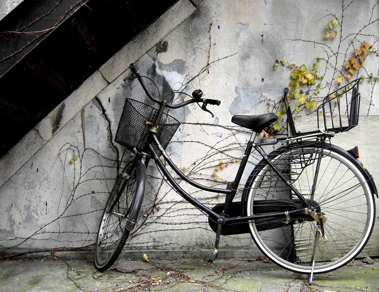 古いアパートに停められた自転車